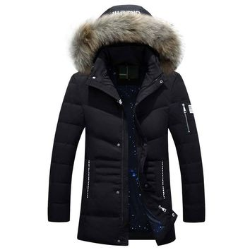 NEW Winter Jacket Men Duck Down Jacket Casual Warm Down Coat Parkas Male Jacket Thick Outwear Faux Fur Hat Hooded Zipper Design