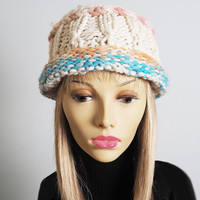 Pink aqua peach yellow white handmade hat - Ready to ship - Pastel & white multicolor cloche - Chunky knit beanie - OOAK ivory crochet hat