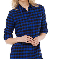Blue Plaid Long Sleeve Button Up Polo