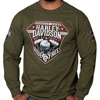 Harley-Davidson Men's Distressed Uprising Long Sleeve Shirt, Fatigue Green