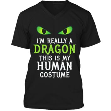 Funny Scary Dragon Costume Halloween  for Women Men Boy Mens Printed V-Neck T
