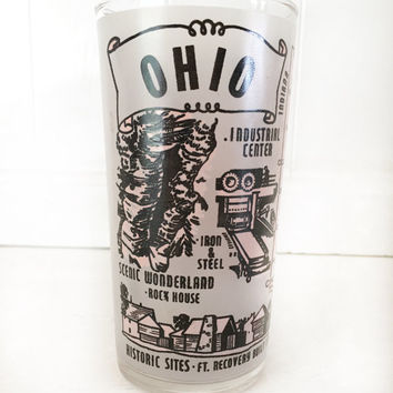 Vintage Ohio Souvenier Glass|Ohio Collectible Drinking Glass|Vintage Barware|Ohio State Souvenier Glass|Ohio State Drinking Glass