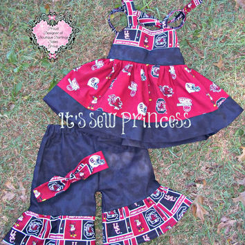 NCAA Licensed South Carolina Gamecocks Fabric Hadley Top & Ruffle Capri/Boutique Clothing/Girls Sets/NCAA Clothing/South Carolina Gamecocks