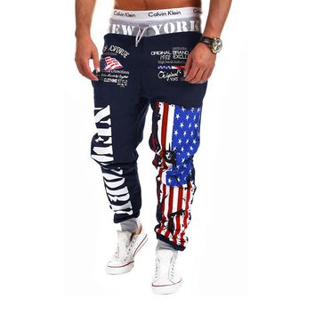 HOT SALE Personality Casual Pants Mens Joggers American Flag Star Print Trousers Overalls Sweatpants Hip Hop Harem Pants