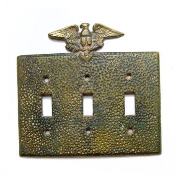 FREE SHIPPING Vintage Antique Eagle Triple Switch Plate Cover, Cast Brass E1175, Hammered