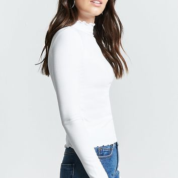 Lettuce Edge Mock Neck Top