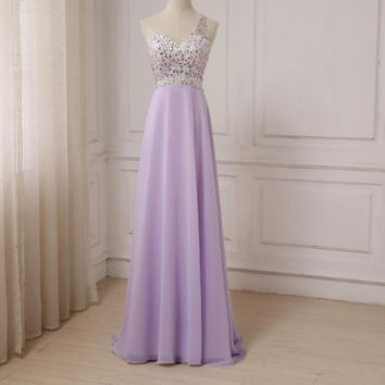 One-shoulder Sleeveless Party Evening Dresses Floor Length Beaded Stones Sexy Formal Evening Prom Gowns