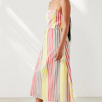 Cooperative Square-Neck Striped Midi Dress | Urban Outfitters