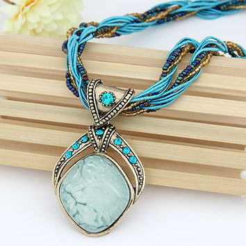 New 2016 Vintage Bohemian Imitation Gemstone Jewelry Handmade Beads Chain Statement Necklaces Pendants for Women Accessories Blue