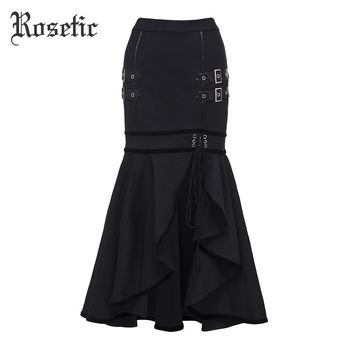 Rosetic Gothic Mermaid Skirt Black Autumn Women Sequined Lace-Up Goth Punk Bodycon Street Fashion Asymmetric Goth Trumpet Skirts