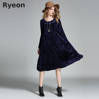 Ryeon Big Size Spring Winter Velvet Women Dresses Vintage A-line Solid Full Sleeve Pockets Casual Dress Maternity Dresses