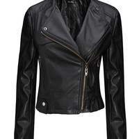 'The Harlow' Black  Leather Bomber Jacket