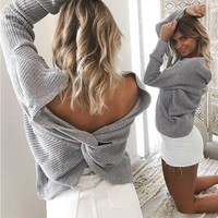 DCKL9 Pullover Winter Sexy Backless Sweater [22426615834]