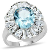 Frozen Fire - FINAL SALE Sparkling Aquamarine Cubic Zirconia Stainless Steel Ring with Pear and Baguette-Cut CZs