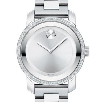Women's Movado 'Bold' Diamond Bezel Bracelet Watch, 36mm - Silver