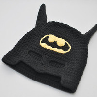 Batman hat crocheted baby hat photo prop children hat