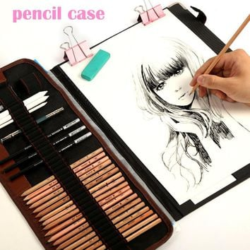 29pcs/set Portable outdoor drawing art supplies Sketch Pencils case Charcoal Eraser Cutter Kit Bag Art Craft For Drawing Tools