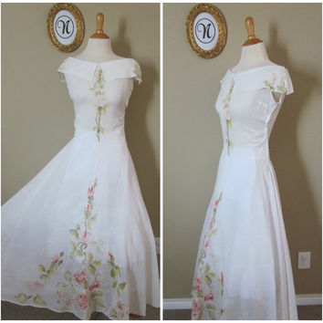 Vintage 1940's ~ 40's Gauzy White Hand Painted Wedding Style Dress