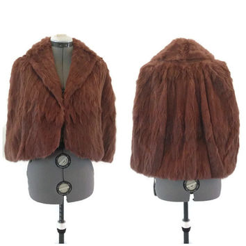 1950s Fur Wrap / Vintage Dyed Rabbit Fur Capelet, Rabbit Fur Stole, Fur Jacket
