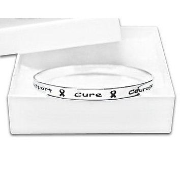 Cancer Awareness Silver Ribbon Bangle Bracelet words Support, Cure, Hope, Courage