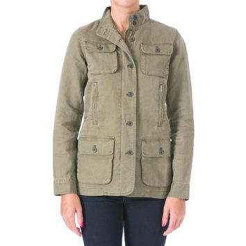 Kule Womens Linen Stand Collar Jacket