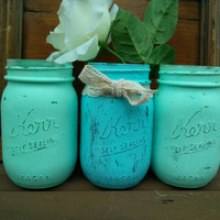 Center Piece | Shabby Chic Mason Jars | Painted Mason Jars | Vases | Home Decor | Baby Shower | Wedding | Nursery | Blue | Mint Green