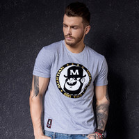 Casual Summer Short Sleeve T-shirts Korean Round-neck Strong Character Bottoming Shirt [10488644995]