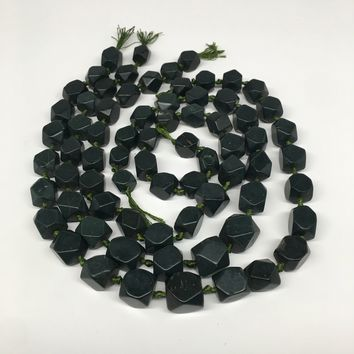 """1 strand,12mm-17/19mm, Natural Green Nephrite Jade Facetted Long Beads,18"""",NPH07"""