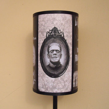 Frankenstein's Bride lamp shade Lampshade - bedside lamp shade, halloween decor, horror decor, horror movie, goth decor, damask lamp shade