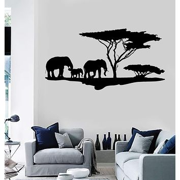 Vinyl Wall Decal African Nature Elephants Family Africa Tree Stickers Unique Gift (ig4044)