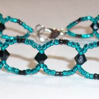 sale Black crystal bracelet, teal beaded jewelry