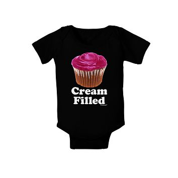 Cream Filled Pink Cupcake Design Baby Bodysuit Dark by TooLoud