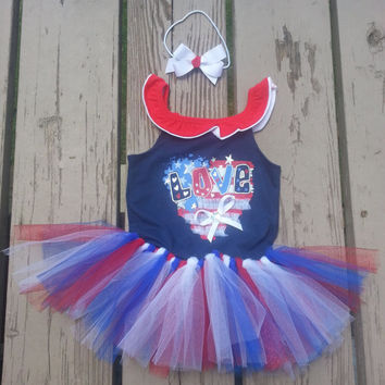 LAST ONE - 4th of July Toddler Outfit - 3T - Ready to Ship - LOVE Patriotic Tutu