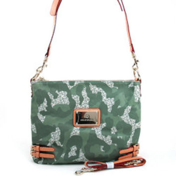 Women's Camouflage Fashion Messenger/Shoulder Bag w/ Interchangeable Straps - Light Green