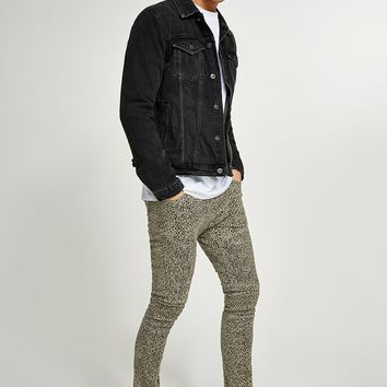 Leopard Print Biker Spray On Jeans | Topman