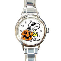 "Halloween Snoopy and Jack O""Lantern on a Womens or Girls Round Charm Watch"