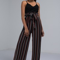 AKIRA Label Wide Leg Loose Fit Tank Jumpsuit with Striped Pleated Pants in Black and Burgundy
