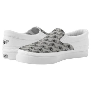 Honey Bee Graphic Art Grey Black Slip On Sneakers