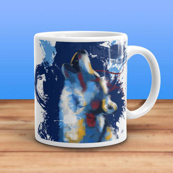 Howling Wolf Coffee Mug - wolf mug, animal lovers gift, animal mug, howling wolf mug, wolf art, colorful mug, cute coffee mug, ceramic mug