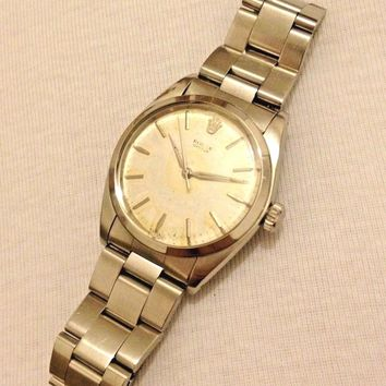 Vintage Original Rolex Oyster Precision Manual Wind S. Steel Mens Watch