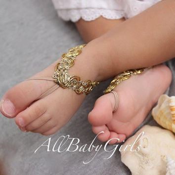 Stunning Gold Baby Barefoot Sandals
