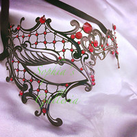 Halloween Party Venetian Masquerade Phantom Costume Mask Black Laser Cut Metal Masked Ball w/ Ruby Red Rhinestones