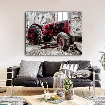 Old Red Tractor Framed Canvas Wall Art Farming Farmers Collection Farm Tractor Farm Decor