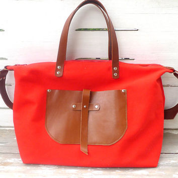 Artisan Crafted Red Weekender Bag - Leather Single Strap Shoulder bag / Tote Bag / Diaper Bag