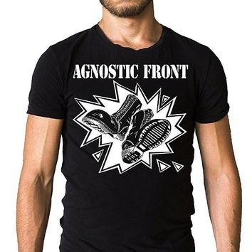 Summer 2018 Short Sleeve Plus Size Print Men T Shirt Summer Agnostic Front Dr Martens Boots Skinhead Logo Army T Shirt