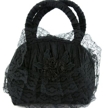 Black Lace Gothic Lolita Floral Velvet Small Handbag Purse