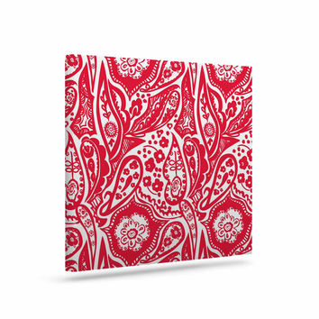 "Agnes Schugardt ""Paisley"" Paisley Red Canvas Art"