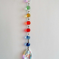 Suncatcher, Yard art, Rainbow of colors, Glass prism's, Window art, Rear view mirror hanger