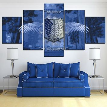 Cool Attack on Titan Canvas HD Prints Painting 5 Pieces  Scouting Legion Wings Of dom Posters For Modern Home Wall Art Decorative AT_90_11