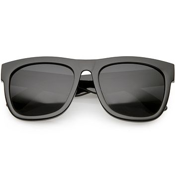 Oversize Modern Horned Rim Square Sunglasses C691